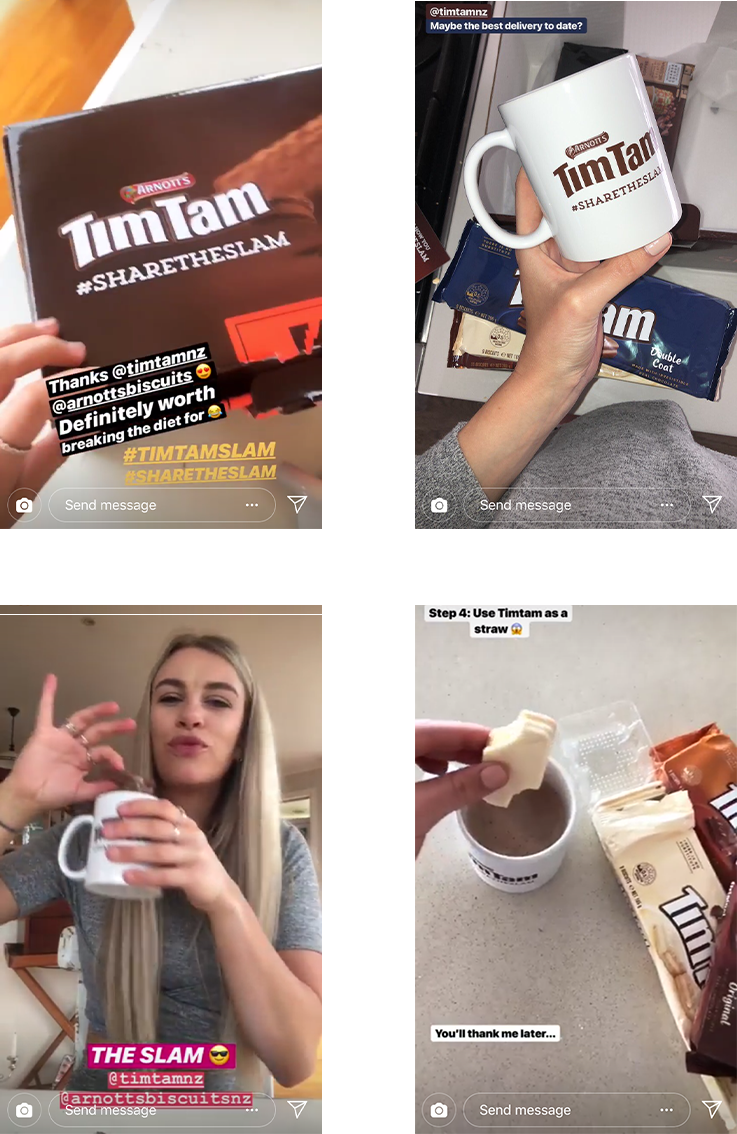 (Clockwise) Influencer content for Tim Tam by @emmamaygribs @forkingyum @emmamaygribs @sashaetro_
